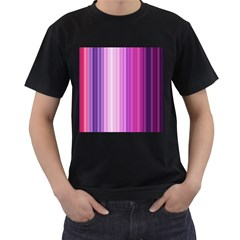 Pink Vertical Color Rainbow Purple Red Pink Line Men s T Shirt (black)