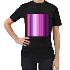 Pink Vertical Color Rainbow Purple Red Pink Line Women s T Shirt (black) by Alisyart