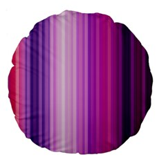 Pink Vertical Color Rainbow Purple Red Pink Line Large 18  Premium Flano Round Cushions