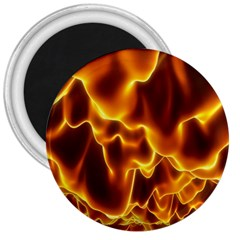 Sea Fire Orange Yellow Gold Wave Waves 3  Magnets