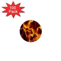Sea Fire Orange Yellow Gold Wave Waves 1  Mini Magnets (100 Pack)