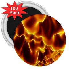 Sea Fire Orange Yellow Gold Wave Waves 3  Magnets (100 Pack)