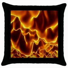 Sea Fire Orange Yellow Gold Wave Waves Throw Pillow Case (black) by Alisyart