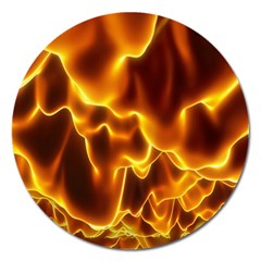 Sea Fire Orange Yellow Gold Wave Waves Magnet 5  (round) by Alisyart