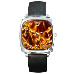 Sea Fire Orange Yellow Gold Wave Waves Square Metal Watch by Alisyart