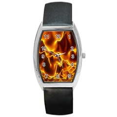 Sea Fire Orange Yellow Gold Wave Waves Barrel Style Metal Watch by Alisyart