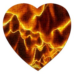 Sea Fire Orange Yellow Gold Wave Waves Jigsaw Puzzle (heart) by Alisyart