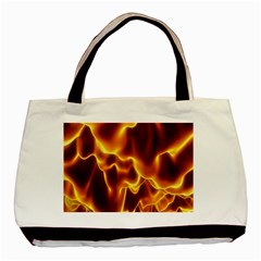 Sea Fire Orange Yellow Gold Wave Waves Basic Tote Bag (two Sides) by Alisyart