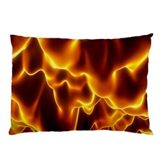 Sea Fire Orange Yellow Gold Wave Waves Pillow Case by Alisyart