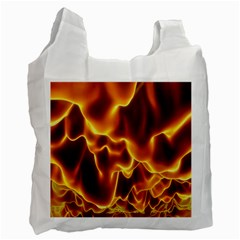 Sea Fire Orange Yellow Gold Wave Waves Recycle Bag (two Side)  by Alisyart