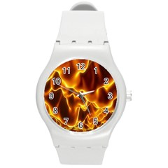 Sea Fire Orange Yellow Gold Wave Waves Round Plastic Sport Watch (m)