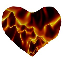 Sea Fire Orange Yellow Gold Wave Waves Large 19  Premium Flano Heart Shape Cushions by Alisyart