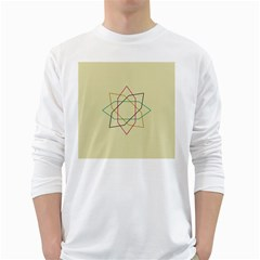 Shape Experimen Geometric Star Sign White Long Sleeve T Shirts by Alisyart