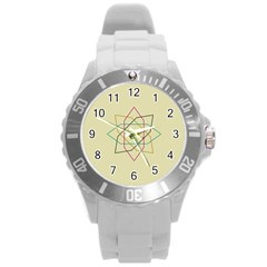 Shape Experimen Geometric Star Sign Round Plastic Sport Watch (l) by Alisyart