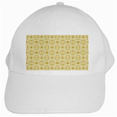 Gold Geometric Plaid Circle White Cap by Alisyart
