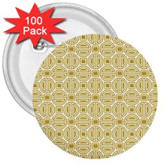 Gold Geometric Plaid Circle 3  Buttons (100 Pack)  by Alisyart