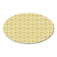 Gold Geometric Plaid Circle Oval Magnet by Alisyart
