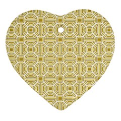 Gold Geometric Plaid Circle Heart Ornament (two Sides) by Alisyart
