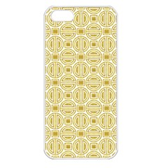 Gold Geometric Plaid Circle Apple Iphone 5 Seamless Case (white) by Alisyart