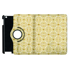 Gold Geometric Plaid Circle Apple Ipad 3/4 Flip 360 Case