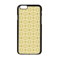 Gold Geometric Plaid Circle Apple Iphone 6/6s Black Enamel Case