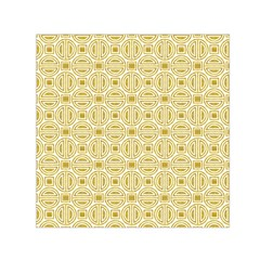 Gold Geometric Plaid Circle Small Satin Scarf (square)