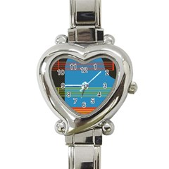 Sketches Tone Red Yellow Blue Black Musical Scale Heart Italian Charm Watch