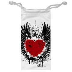 Wings Of Heart Illustration Jewelry Bag by TastefulDesigns