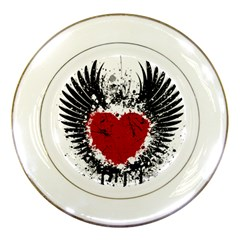 Wings Of Heart Illustration Porcelain Plates by TastefulDesigns