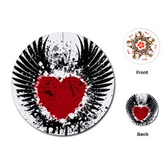 Wings Of Heart Illustration Playing Cards (round)  by TastefulDesigns