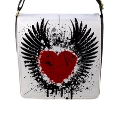 Wings Of Heart Illustration Flap Messenger Bag (l)  by TastefulDesigns