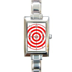 Sniper Focus Target Round Red Rectangle Italian Charm Watch by Alisyart