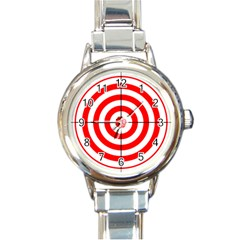 Sniper Focus Target Round Red Round Italian Charm Watch by Alisyart