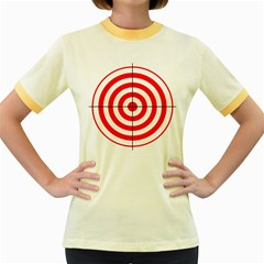 Sniper Focus Target Round Red Women s Fitted Ringer T Shirts by Alisyart