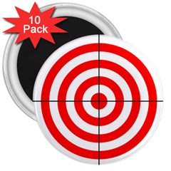 Sniper Focus Target Round Red 3  Magnets (10 Pack)  by Alisyart