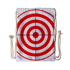 Sniper Focus Target Round Red Drawstring Bag (small) by Alisyart