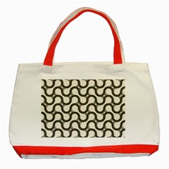 Shutterstock Wave Chevron Grey Classic Tote Bag (red) by Alisyart