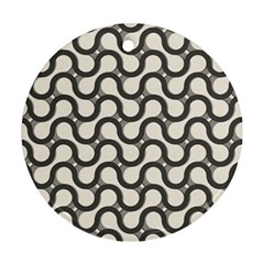 Shutterstock Wave Chevron Grey Round Ornament (two Sides)