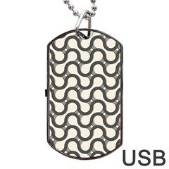Shutterstock Wave Chevron Grey Dog Tag Usb Flash (one Side) by Alisyart