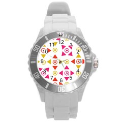 Spectrum Styles Pink Nyellow Orange Gold Round Plastic Sport Watch (l) by Alisyart