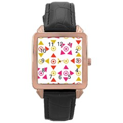 Spectrum Styles Pink Nyellow Orange Gold Rose Gold Leather Watch  by Alisyart