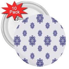 Snow Blue White Cool 3  Buttons (10 Pack)