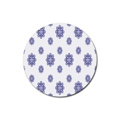 Snow Blue White Cool Rubber Coaster (round)