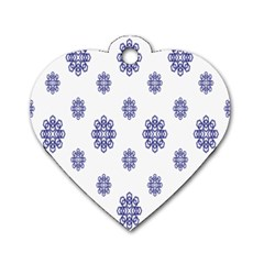 Snow Blue White Cool Dog Tag Heart (two Sides) by Alisyart