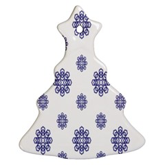 Snow Blue White Cool Christmas Tree Ornament (two Sides) by Alisyart