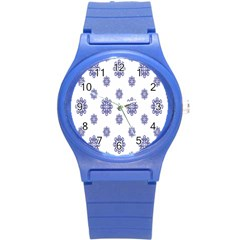 Snow Blue White Cool Round Plastic Sport Watch (s)