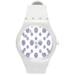 Snow Blue White Cool Round Plastic Sport Watch (m) by Alisyart