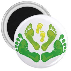 Soles Feet Green Yellow Family 3  Magnets by Alisyart