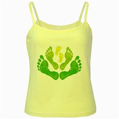 Soles Feet Green Yellow Family Yellow Spaghetti Tank by Alisyart