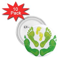 Soles Feet Green Yellow Family 1 75  Buttons (10 Pack)